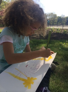 It is a good thing I had extra supplies. The girls from France stayed to paint. It wasn't long before a watercolorist from Pennsylvania joined us in the grass alongside the reservoir and under a beautiful flowering tree.