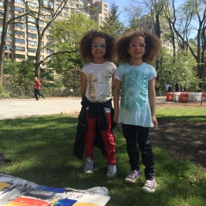Twin girls speaking French painted with me in Central Park.